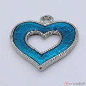 Ασημί μεταλλική καρδιά με διάφανο τυρκουάζ σμάλτο