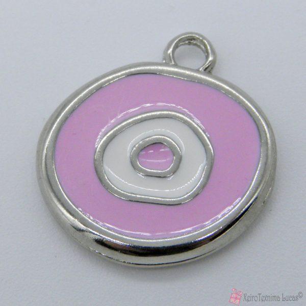 ασημί μεταλλικό μάτι με ροζ σμάλτο