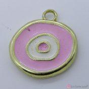χρυσό μεταλλικό μάτι με ροζ σμάλτο