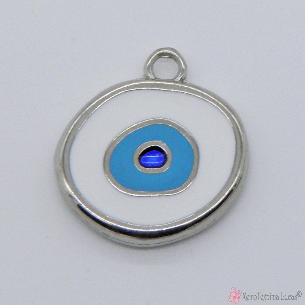 ασημί μεταλλικό μάτι με λευκό σμάλτο