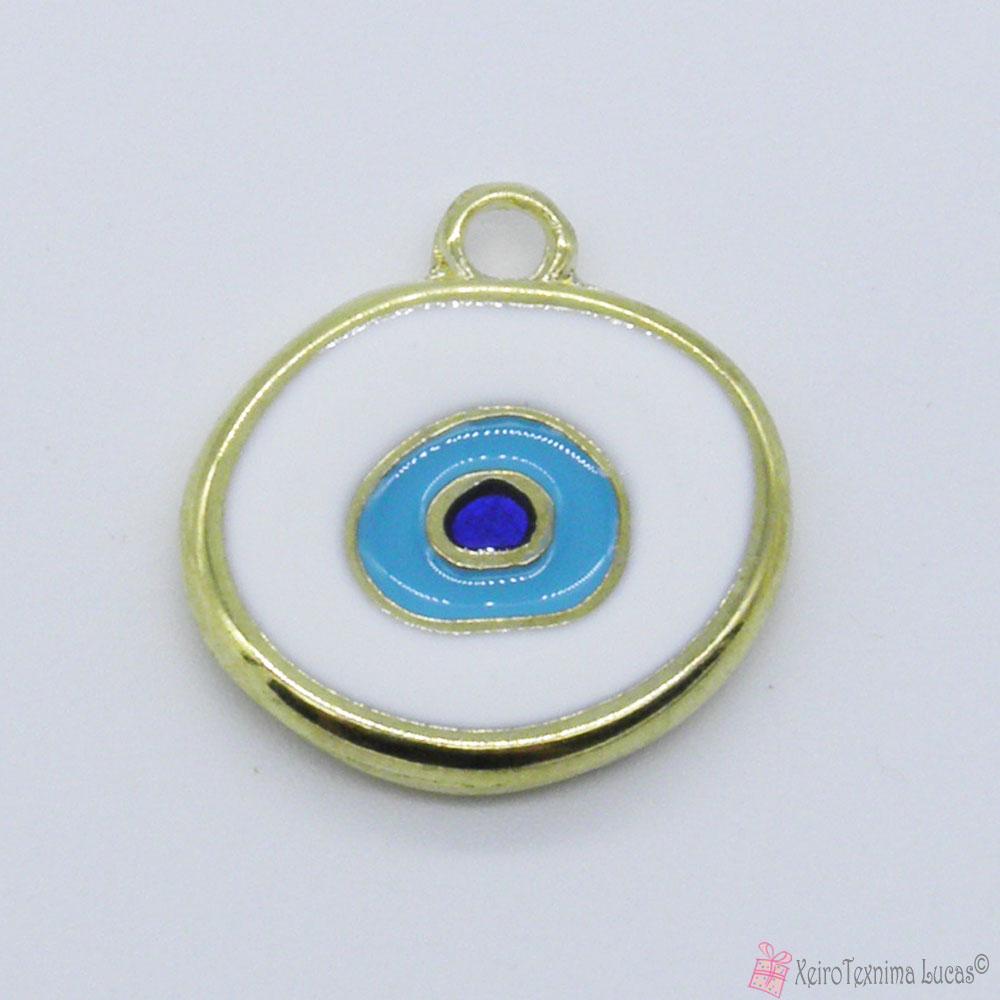 χρυσό μεταλλικό μάτι με λευκό σμάλτο