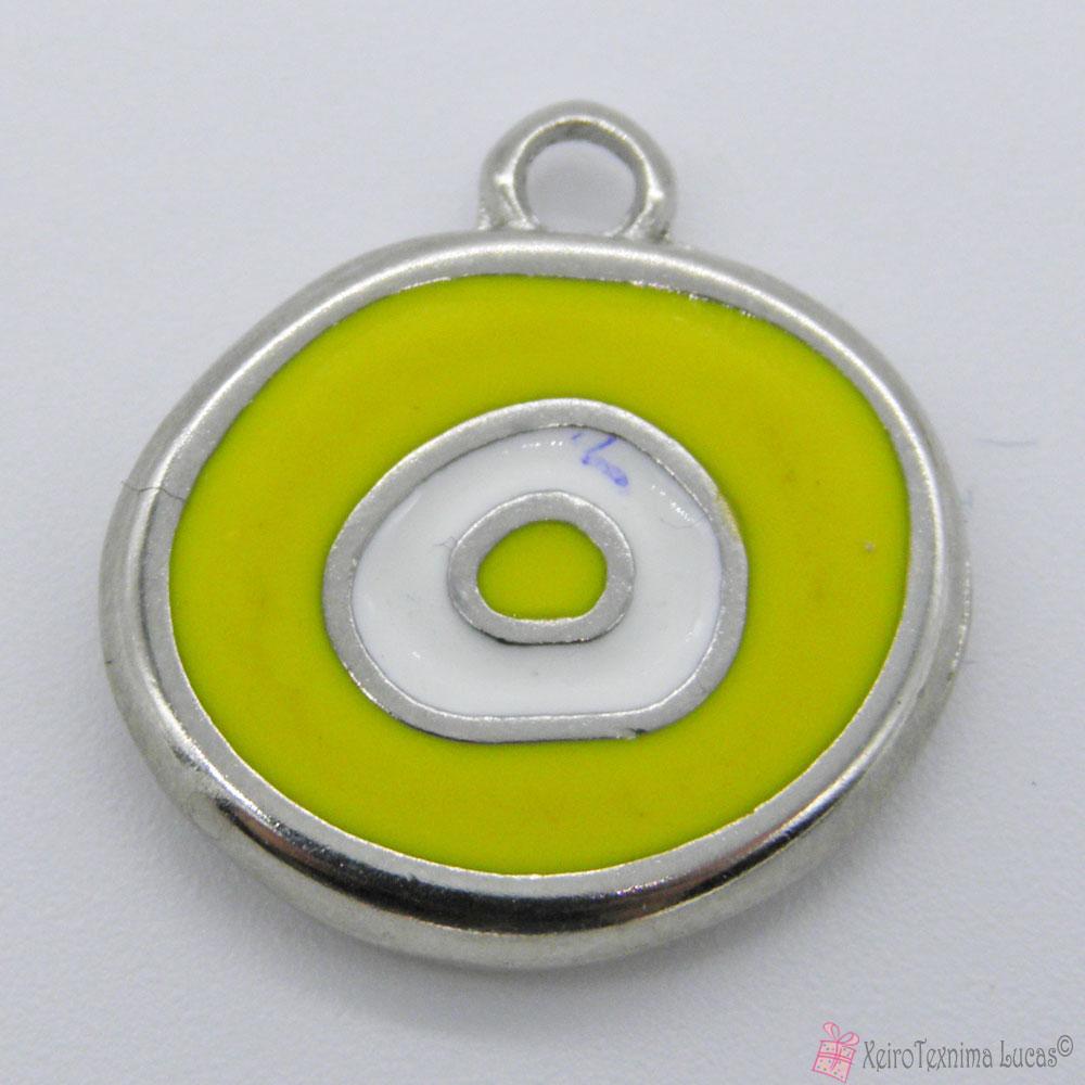 ασημί μεταλλικό μάτι με κίτρινο σμάλτο