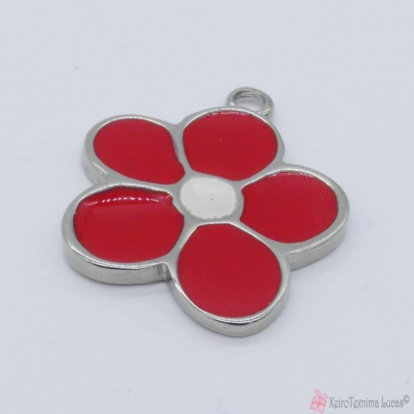 Ασημί μεταλλικό λουλούδι με κόκκινο σμάλτο