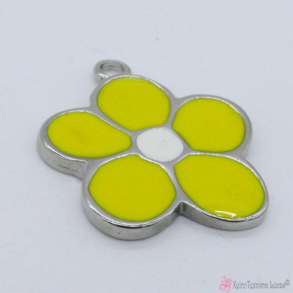 Ασημί μεταλλικό λουλούδι με κίτρινο σμάλτο