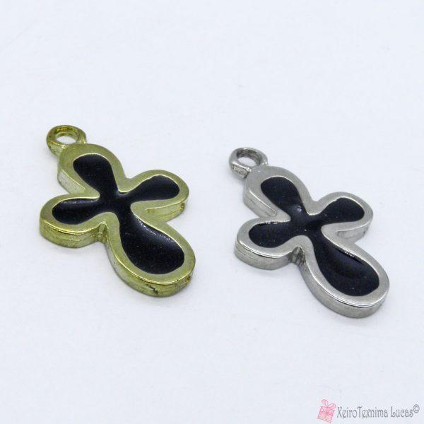 Χρυσός ή ασημί μεταλλικός σταυρός με μαύρο σμάλτο