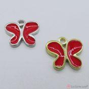 μεταλλικές πεταλούδες με κόκκινο σμάλτο