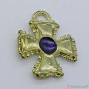 Χρυσό μεταλλικό σταυρουδάκι με μπλε σμάλτο