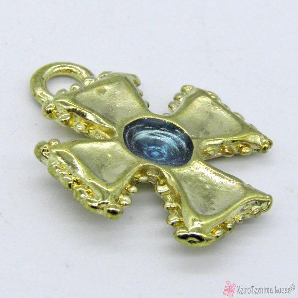 Χρυσό μεταλλικό σταυρουδάκι με διάφανο γαλάζιο σμάλτο