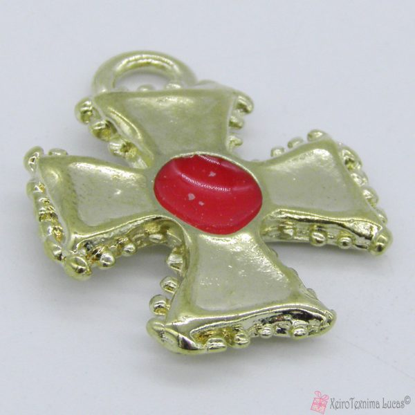 Χρυσό μεταλλικό σταυρουδάκι με κόκκινο σμάλτο