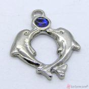 Ασημί μεταλλικό δελφινάκι με μπλε σμάλτο