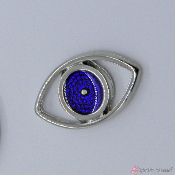 ασημί μεταλλικό μάτι με μπλε σμάλτο