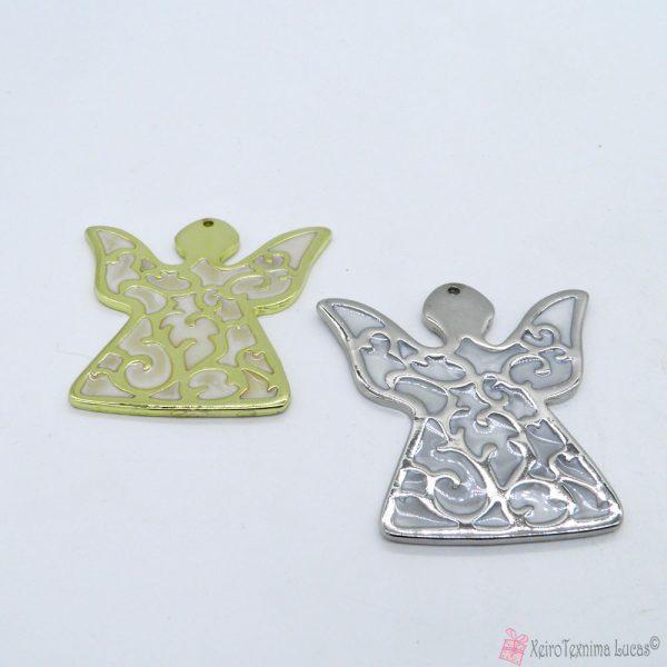 Μεταλλικός άγγελος με εκρού περλέ σμάλτο σε χρυσαφί ή ασημί