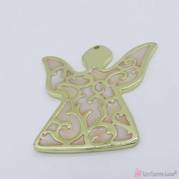 Χρυσός μεταλλικός άγγελος με ροζ περλέ σμάλτο