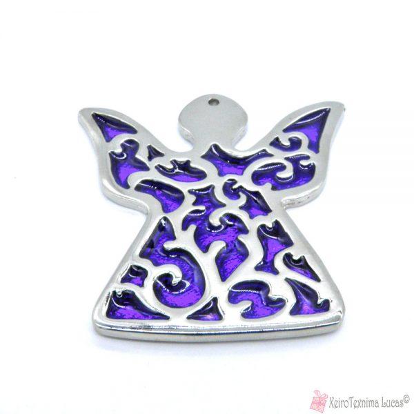 Ασημί μεταλλικός άγγελος με μοβ σμάλτο