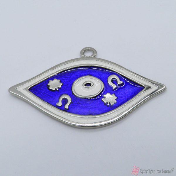 ασημί μεταλλικό μάτι με μπλε και λευκό σμάλτο
