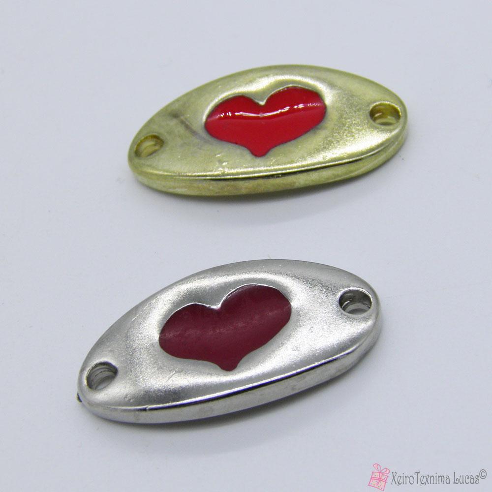 κόκκινο και μπορντό ματ καρδιά με σμάλτο - μοτίφ για βραχιολάκια