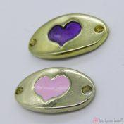 ροζ και μοβ καρδιά με σμάλτο - μοτίφ για βραχιολάκια