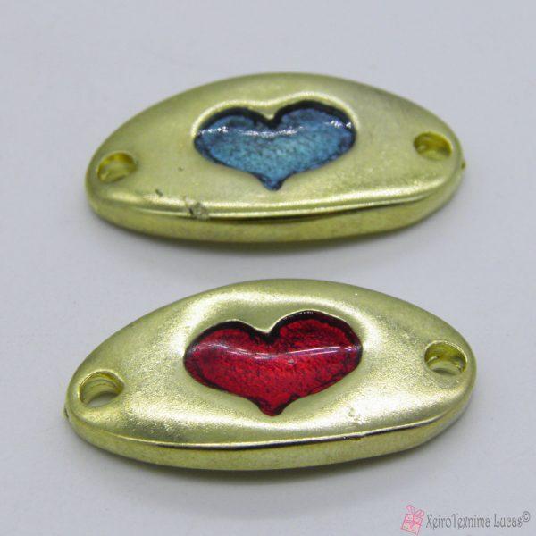 καρδιά με σμάλτο - μοτίφ για βραχιολάκια