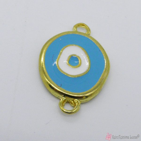 χρυσό μεταλλικό μάτι για βραχιόλια με γαλάζιο σμάλτο