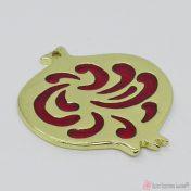 Χρυσό μεταλλικό ρόδι με μπορντό σμάλτο