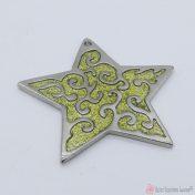 Ασημί μεταλλικό αστέρι με χρυσόσκονη