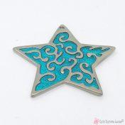 Ασημί μεταλλικό αστέρι με σμαραγδί σμάλτο