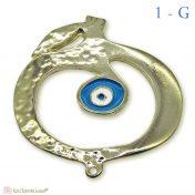 χρυσό μεταλλικό ρόδι με γαλάζιο μάτι σμάλτο