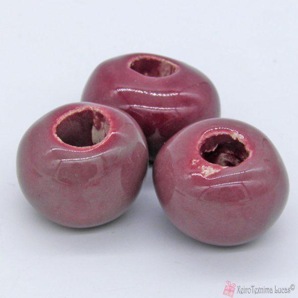 Ροζ σκούρες κεραμικές χάντρες