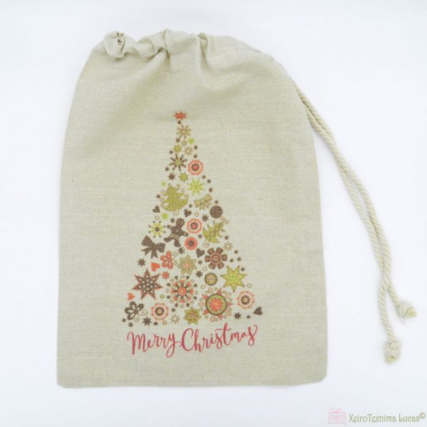 Χριστουγεννιάτικο πουγκί έλατο Merry Christmas