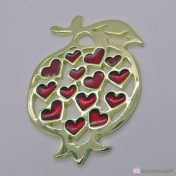 Χρυσό μεταλλικό ρόδι με κόκκινες καρδιές