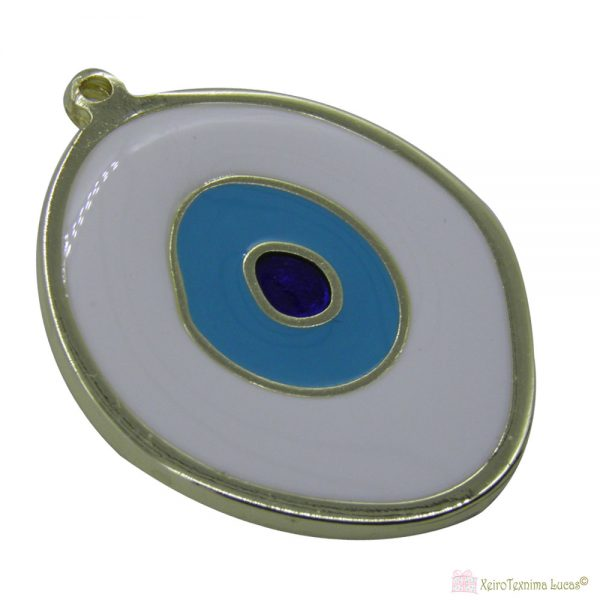 Χρυσό μεταλλικό μάτι με άσπρο σμάλτο
