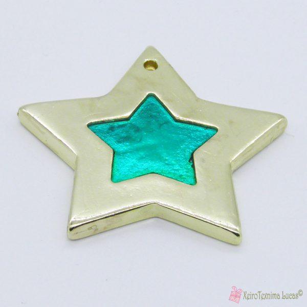 Χρυσό αστέρι με σμαραγδί σμάλτο
