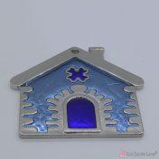 Ασημί μεταλλικό σπίτι με μπλε σμάλτο