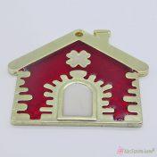Χρυσό μεταλλικό σπίτι με μπορντό σμάλτο