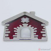 Ασημί μεταλλικό σπίτι με μπορντό σμάλτο