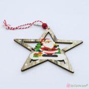 Ξύλινα στολίδια αστέρι με Άγιο Βασίλη