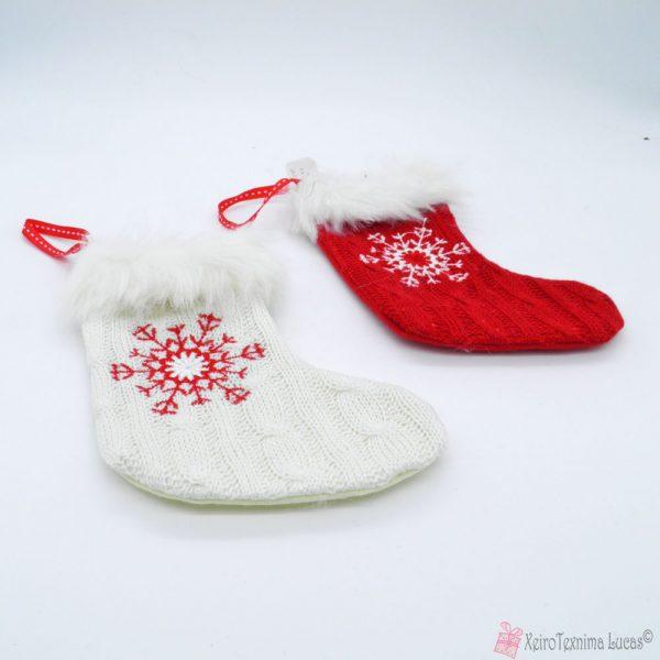 χριστουγεννιάτικες κάλτσες με νιφάδες