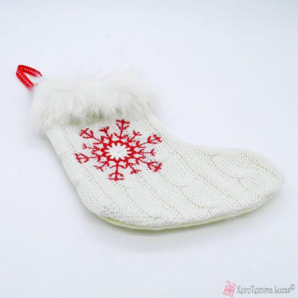 Λευκή κάλτσα με νιφάδα