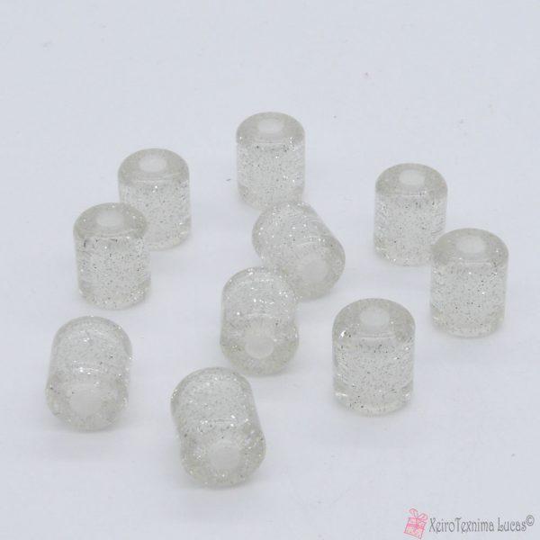 Διάφανες πλαστικές χάντρες με ασημόσκονη