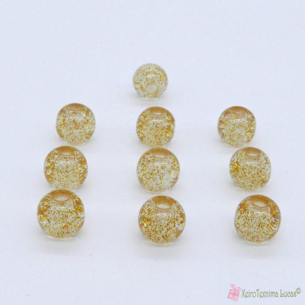 χάντρες με χρυσόσκονη