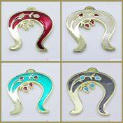 Μεταλλικό πέταλο με ρόδια και σμάλτο σε διάφορα χρώματα