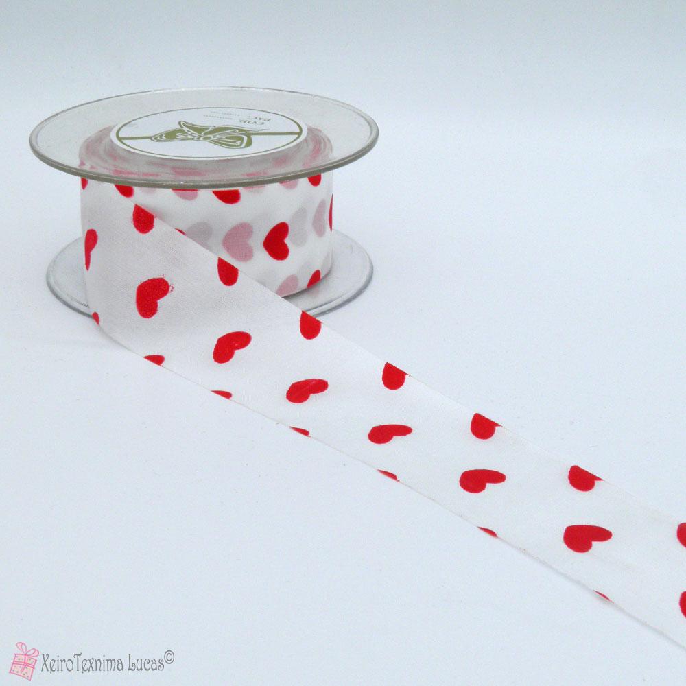 Σατέν κορδέλα με κόκκινες καρδιές