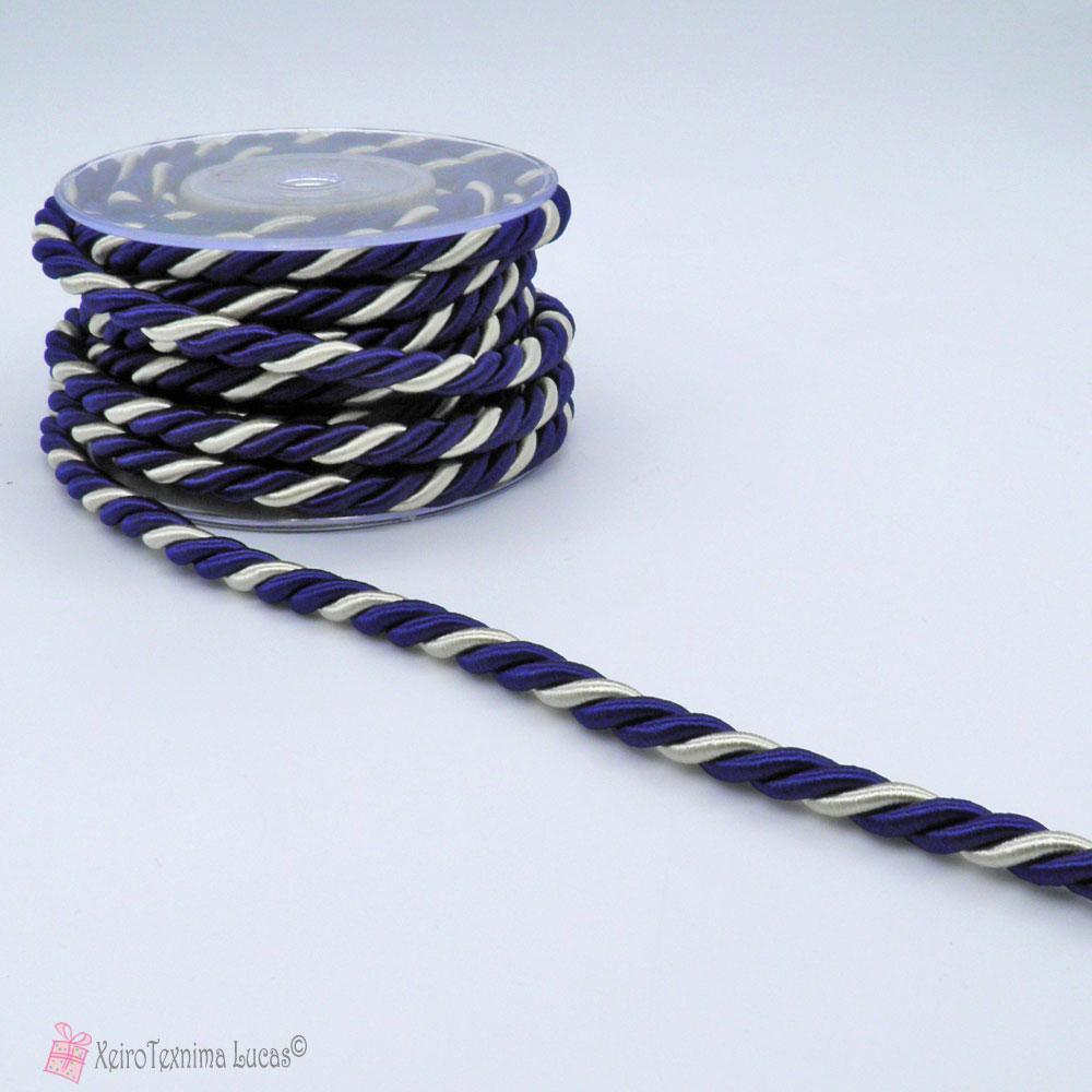Μπλε άσπρο στριφτό κορδόνι ρεγιόν