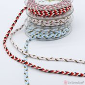 Τρίχρωμο πλεχτό κορδόνι σε διάφορα χρώματα