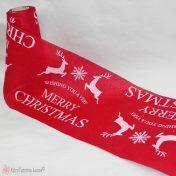 Κόκκινη χριστουγεννιάτικη κορδέλα λινάτσα