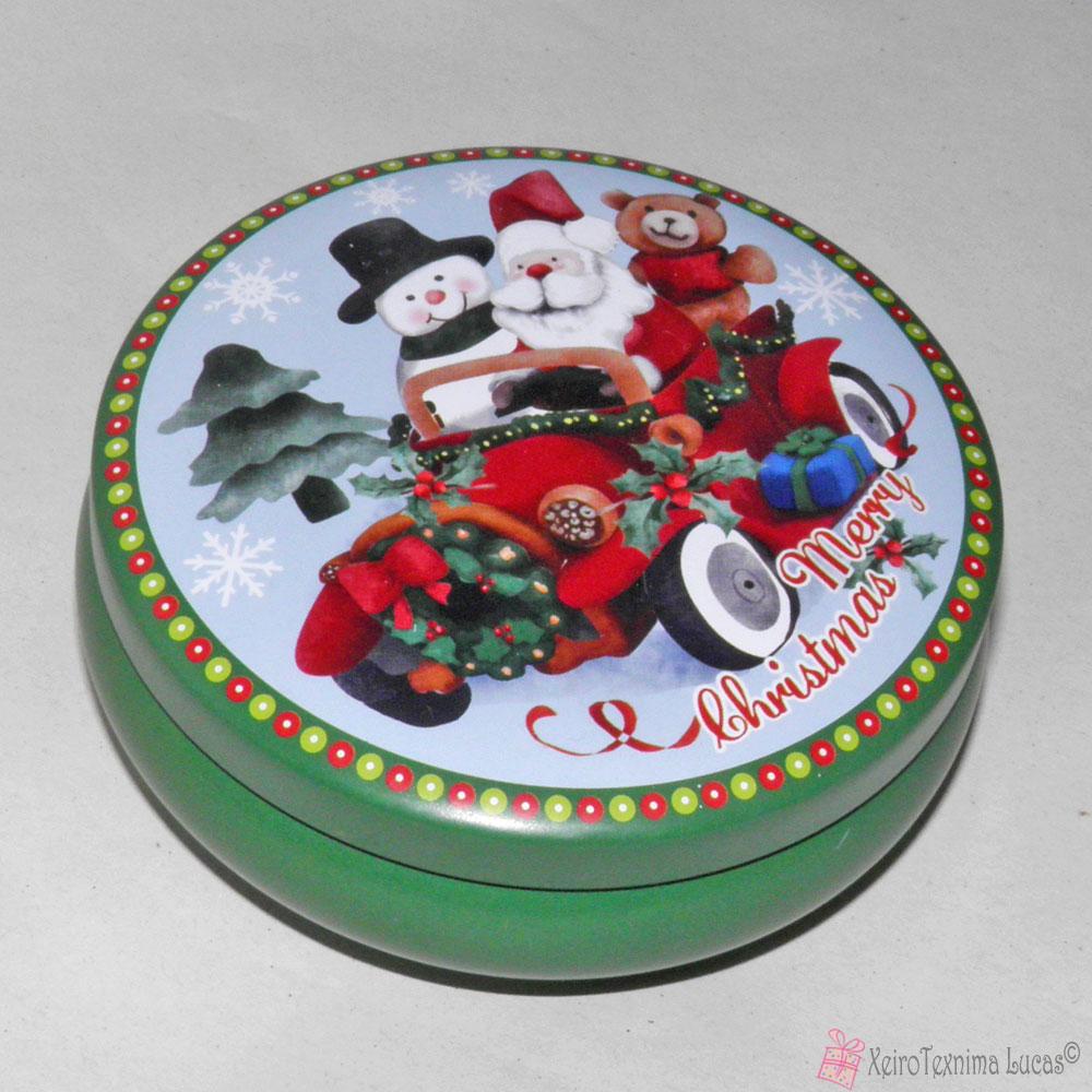 Στρογγυλό μεταλλικό κουτάκι με χριστουγεννιάτικη παράσταση