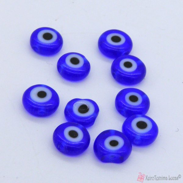 μπλε γυάλινα ματάκια χάντρες
