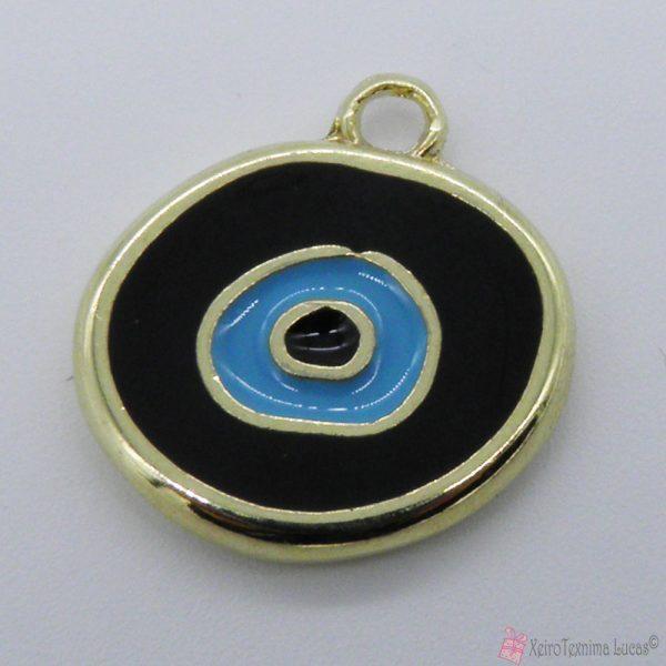 χρυσό μεταλλικό μάτι με μαύρο και γαλάζιο σμάλτο