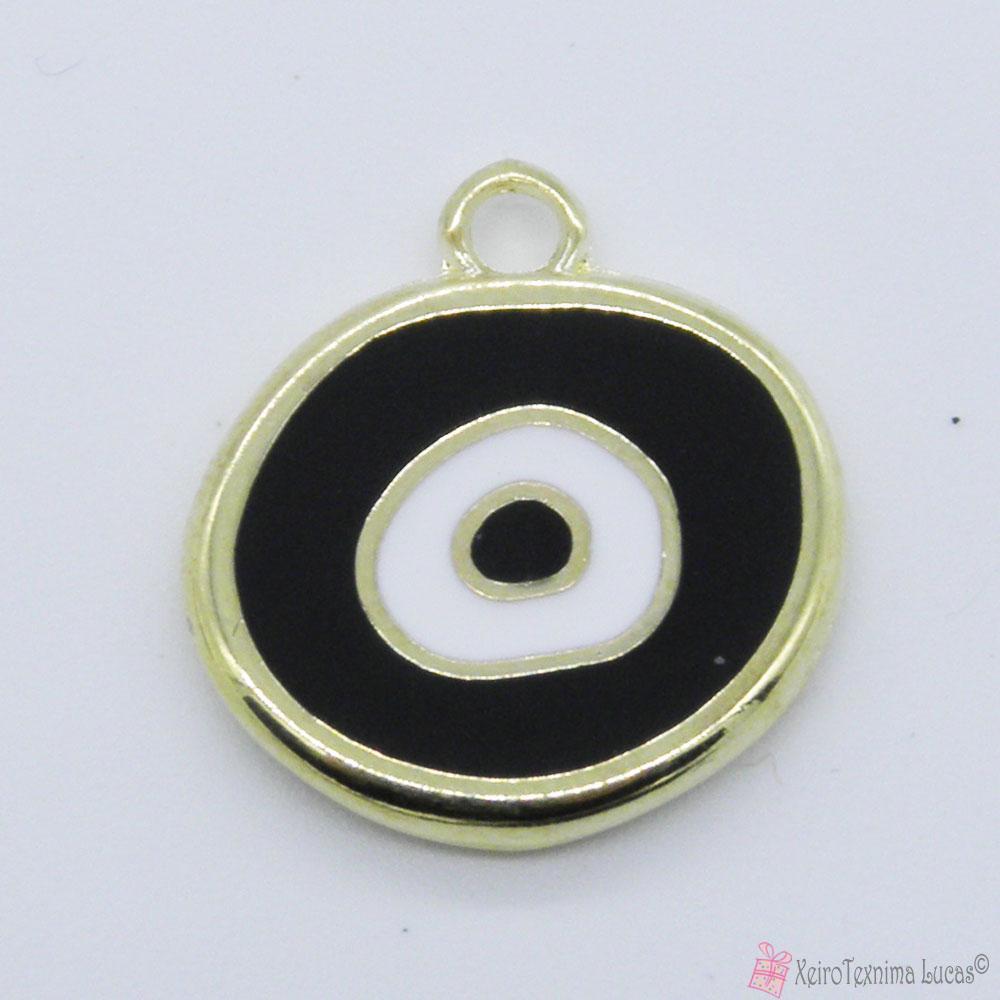 χρυσό μεταλλικό μάτι με μαύρο και άσπρο σμάλτο