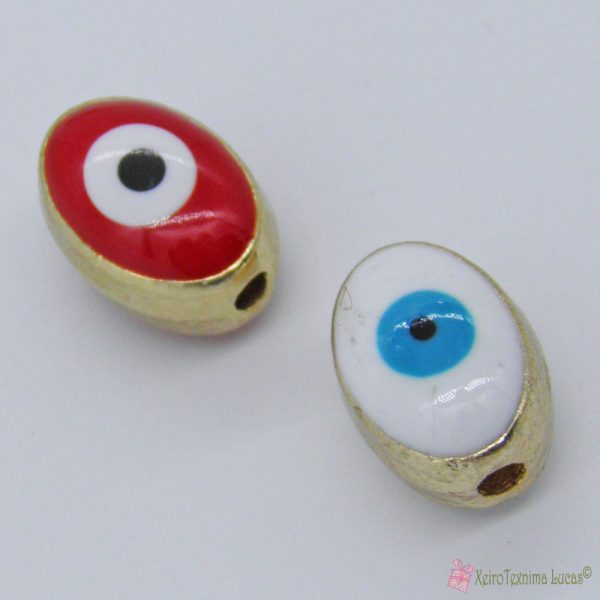 Οβάλ μεταλλικές χάντρες μάτι με σμάλτο